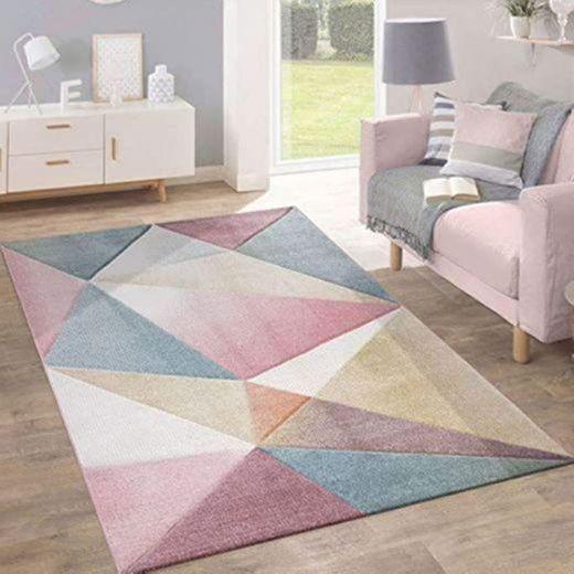Alfombra Pelo Corto Tendencia Pastel Diseño Geométrico Inspiración Multicolor, tamaño