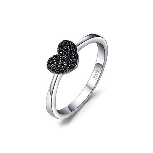JewelryPalace Anillo dulce en forma de corazón adornado Espinela negro en Plata de ley 925 Tamaño 11