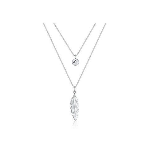 Elli Collares colgante en forma de plumas con cristales Swarovski® en plata esterlina de ley 925