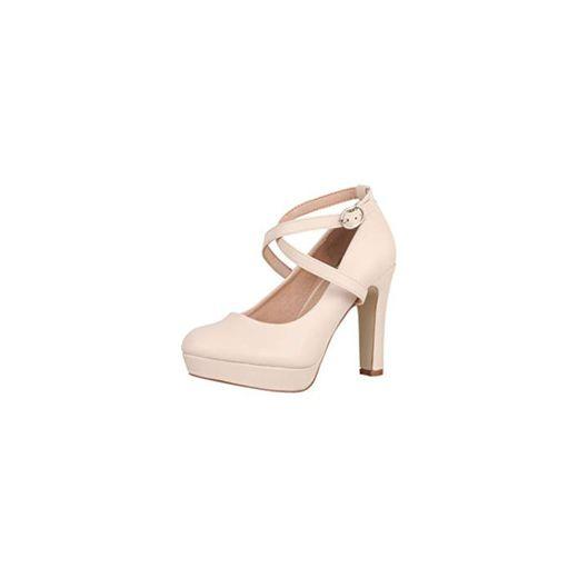 Elara Zapato de Tacón Alto con Correa Mujer Vintage Chunkyrayan Beige ZZ535