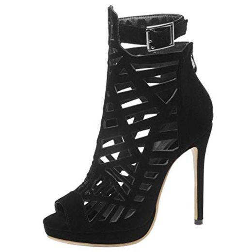 Lydee Mujer Moda Peep Toe Gladiator Sandalias Tacones de Aguja Bootie Zapatos de Verano Plataforma Noche Footwear Black Tamaño 34