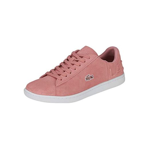 Lacoste Women's Carnaby EVO 318 4 Suede Lace Up Trainer Pink-Pink-4 Size