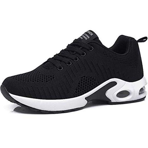 GAXmi Zapatillas Deportivas de Mujer Air Cordones Zapatos de Ligero Running Fitness Zapatillas de para Correr Antideslizantes Amortiguación Sneakers Negro 36 EU