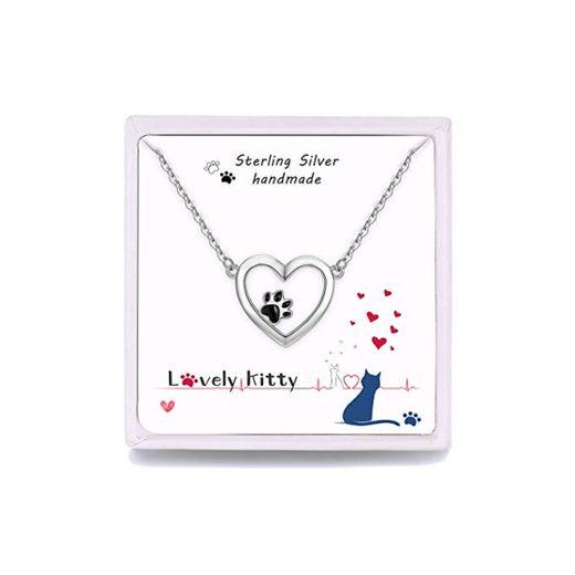 Qings Collar Mujer Corazón de Plata de Ley 925