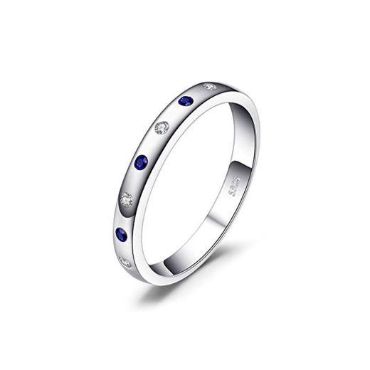 JewelryPalace Anillo elegante adornado Zafiro creado y Circonita en plata de ley 925 Tamaño 14