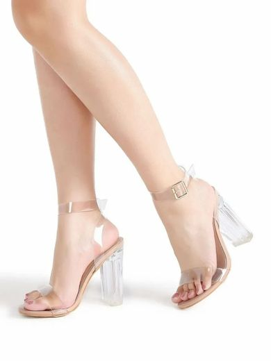 Clear Ankle Strap Chunky Heels | SHEIN USA