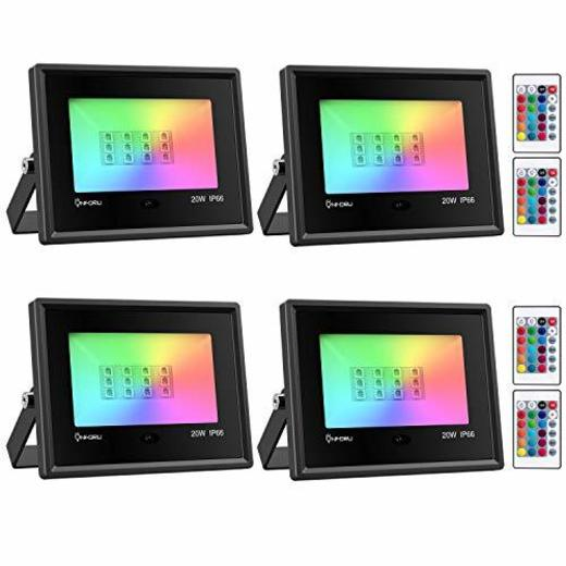 Onforu 4x 20W RGB LED Foco de Colores