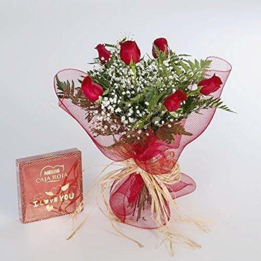 Ramo de 6 rosas rojas naturales y bombones FLORES FRESCAS-ENTREGA EN 24