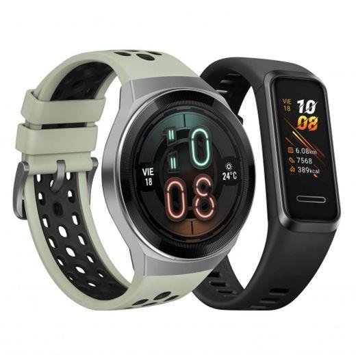 Smartwatch Huawei GT 2E + Huawei Band 4 - Carrefour