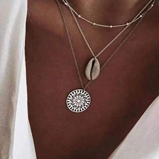 Jovono Boho - Collar con colgante de concha de varias capas para