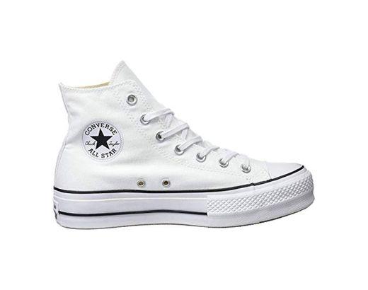 Converse Chuck Taylor CTAS Lift Hi, Zapatillas para Mujer, Blanco