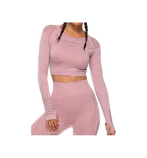 Tops Yoga Camiseta Deportiva Sin Costura Mangas Larga Fitness Mujer Gimnasio #1