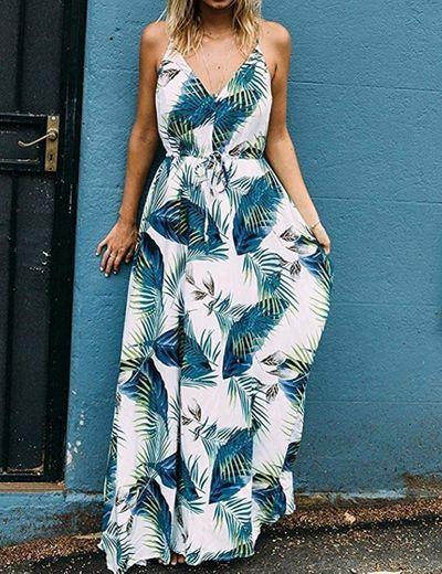 Vestido Mujer Bohemio Largo Verano Playa Fiesta Floral Manga Corta Cuello en