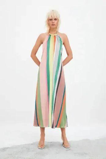 Vestido rayas multicolor Zara