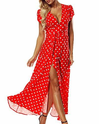 ACHIOOWA Mujer Vestido Elegante Casual Playa Bohemio Dress Lunares Cuello V Manga