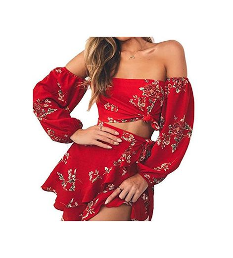Longwu Mujer Boho Flower Impreso Off Shoulder Outfits Conjunto de Dos Piezas