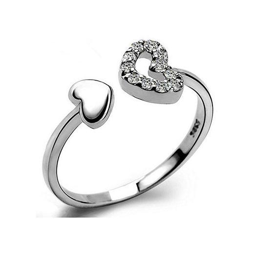Yazilind Joyas de plata esterlina corazón diseño anillo ajustable para las mujeres