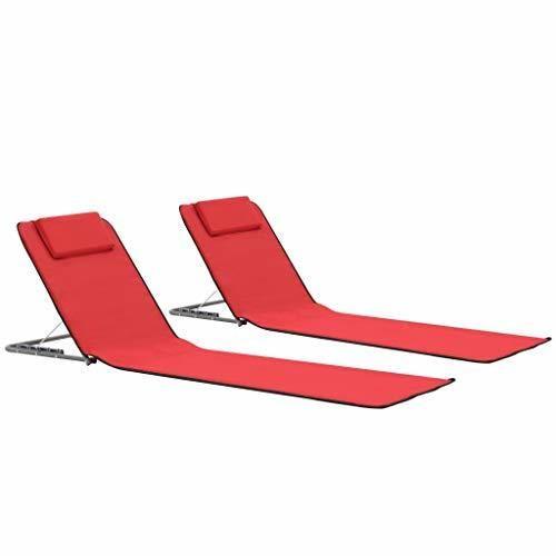 vidaXL 2X Esteras de Playa Plegables Tela Rojo Accesorios de Viaje Tumbonas