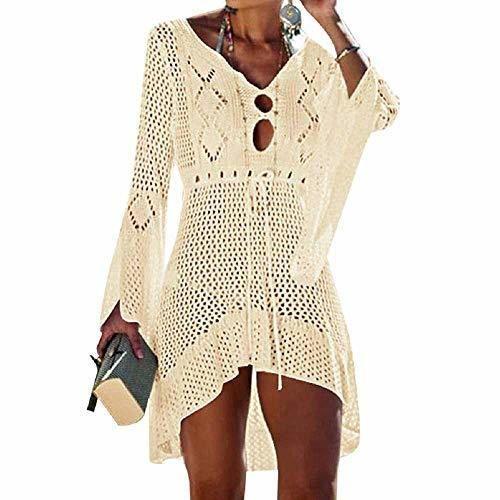 UMIPUBO Vestido de Playa Mujer Suelto Pareos Playa V-Cuello Camisolas y Pareos