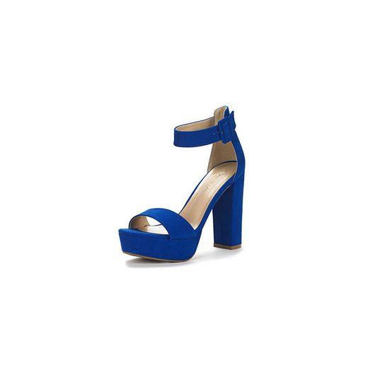 Dream Pairs Hi-Lo Sandalias de Tacón Alto Pump Plataforma para Mujer Azul