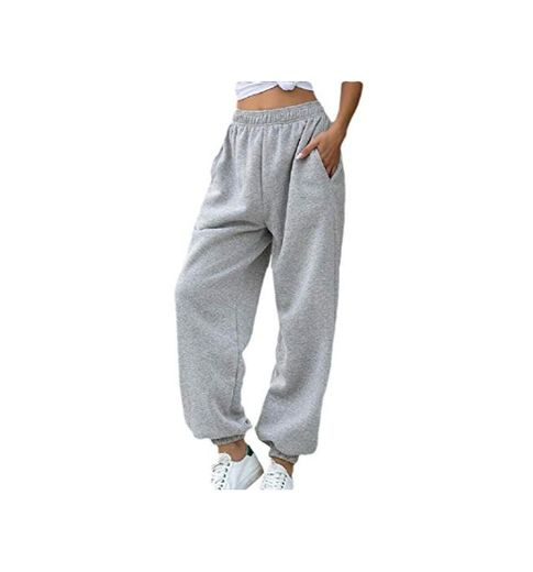 GenericC Women's Fashion Solid Pants Elastic Waist Jogger Sweatpants with Pocket Gery XS