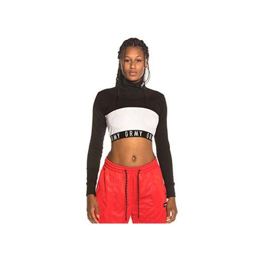 GRIMEY Camiseta Chica Sighting in Vostok Long Sleeve Crop Top FW19 Black