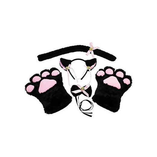 KEESIN Conjunto de Cosplay de Gato Guantes de Garra de Felpa Orejas