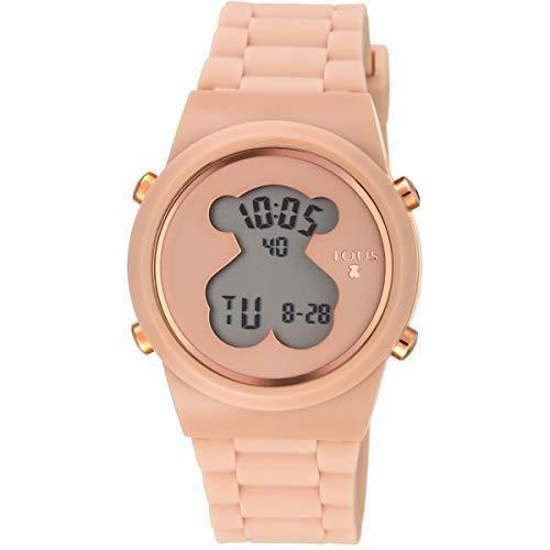 Reloj tous digital D-Bear de acero IP rosado con correa de Silicona