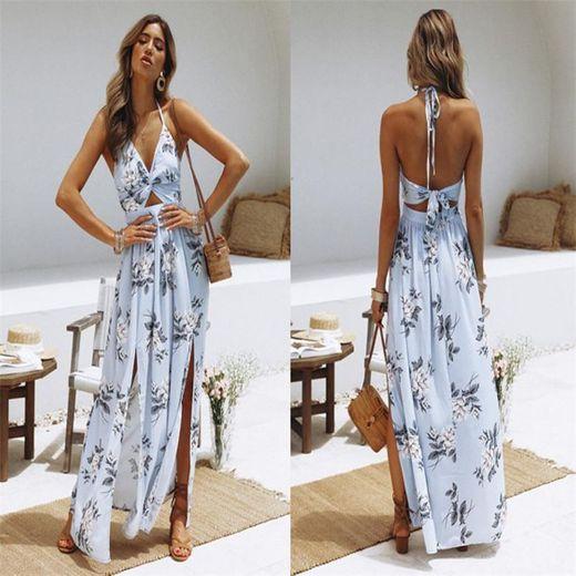 Vestidos Mujer Casual Playa Largos Boho Floral Maxi Vestido Bohemio Tirantes Playa