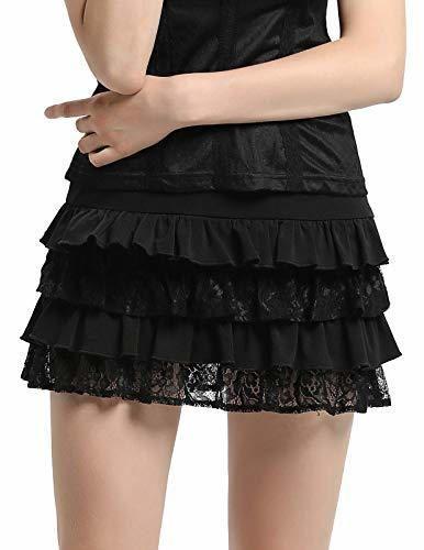 SCARLET DARKNESS Falda-Cullote Mujer Victorian Steampunk Pantalones Encaje Encaje Talla S Negro