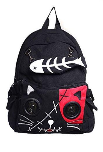 Banned Punk Kitty Mochila con Altavoces Empotrados