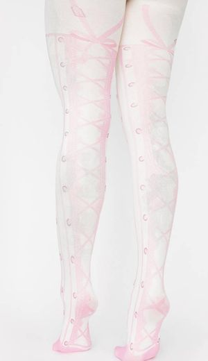 Printed Lace Up Ballet Shoe Tights - White Pink | Dolls Kill