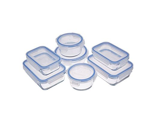 AmazonBasics - Recipientes de cristal para alimentos, con cierre