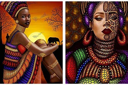 Reofrey 2 Piezas 5D Pintura Diamante Faldas Africano Hombres Mujeres Arte Bricolaje