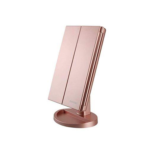 Espejo de Maquillaje con LED, Natural Iluminado Espejo de Mesa Ampliación 1X