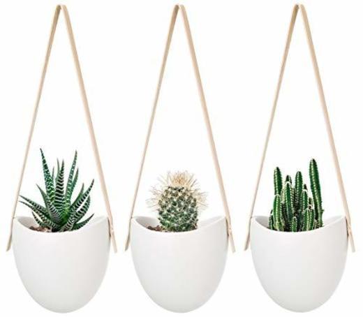Mkouo cerámica Colgante plantador suculento Aire Planta Maceta decoración de la Pared