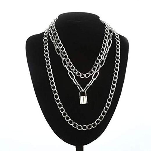 WDam Collar de Cadena de Bloqueo con Colgantes de candado