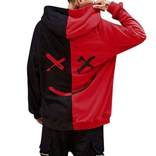 Overdose Sudadera Hombres Patchwork Slim Fit Hoodie OtoñO Moda Outwear Nueva Blusa