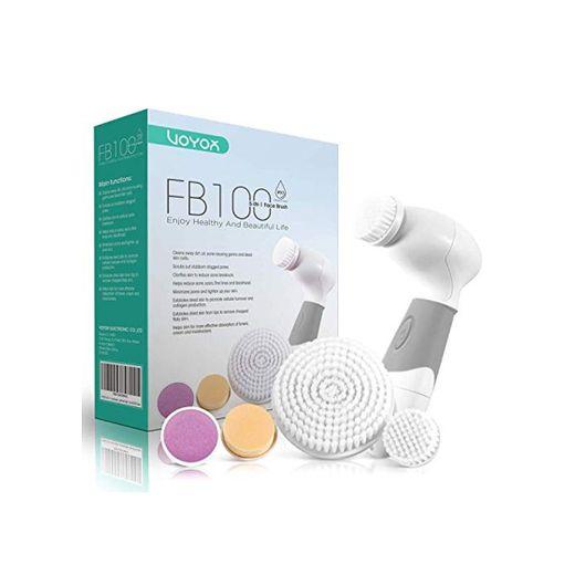 VOYOR 5-In-1 Limpiador Facial Electrico Cepillo Facial Limpieza Giratorio con 5 Cabezales