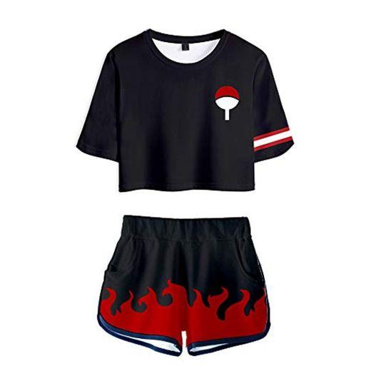 Naruto Sets Uchiha Clan Syarinngann Hokage Ninjia Estampado Camiseta Japón Cómico Crop