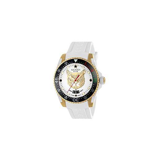 Gucci Reloj de Buceo cauuciu Carcasa Blanca con pvd con Oro Amarillo