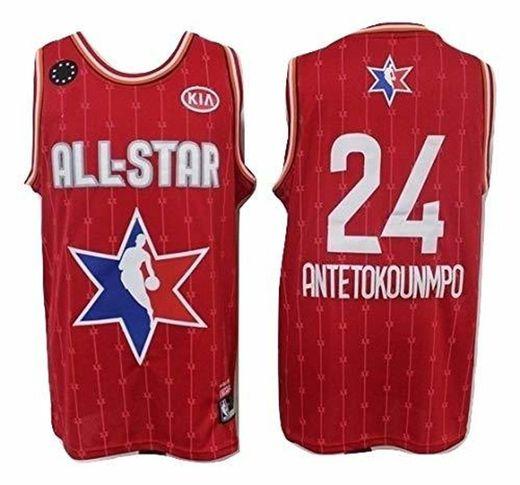 WOLFIRE SC Camiseta de Baloncesto para Hombre, NBA, Milwaukee Bucks #34 Giannis
