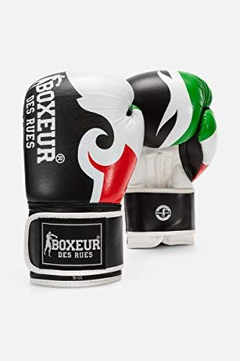 BOXEUR DES RUES - Boxing Gloves In Black Leather With Tribal Print