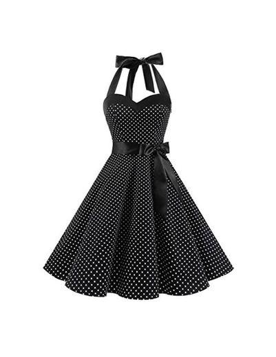 Dresstells® Halter 50s Rockabilly Polka Dots Audrey Dress Retro Cocktail Dress Black