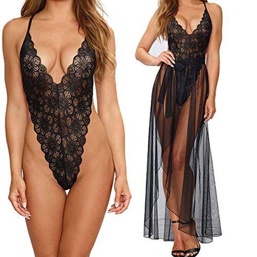 Vestidos Mujer Sexy Conjunto de Lenceria Sexy 2 Piezas Babydoll Encaje Transparente