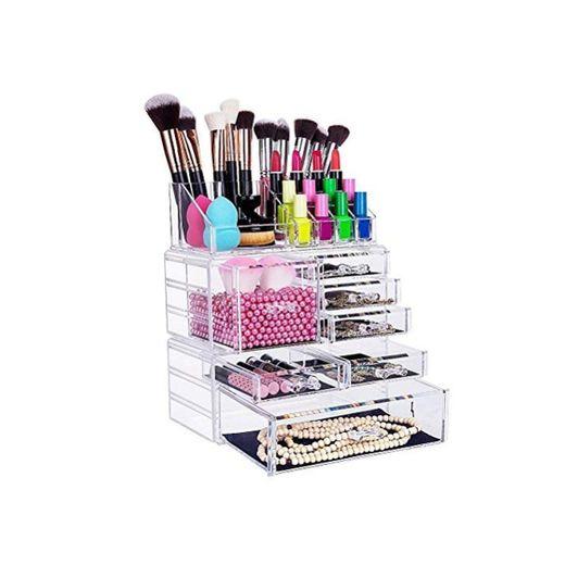 FOBUY Caja acrílica Estante de maquillajes Maquillaje Cosméticos Joyería Organizador