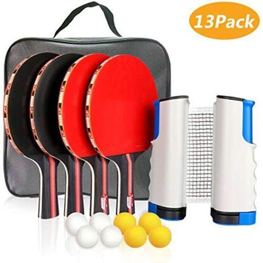 Xddias Conjunto de Tenis de Mesa con Red, 4 Raquetas