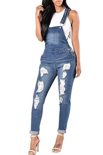 Overol de Mujer Jean Monos de Mezclilla sin Mangas Delgados con Agujeros Rasgados Casuales Azul M