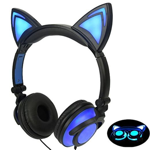 Limson Auriculares para Niños con Orejas de Gato, Auriculares Recargables Plegables con