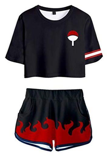JOAYIN Mujer Naruto Camiseta y Pantalones Cortos de Impresión 3D Conjuntos Deportivos